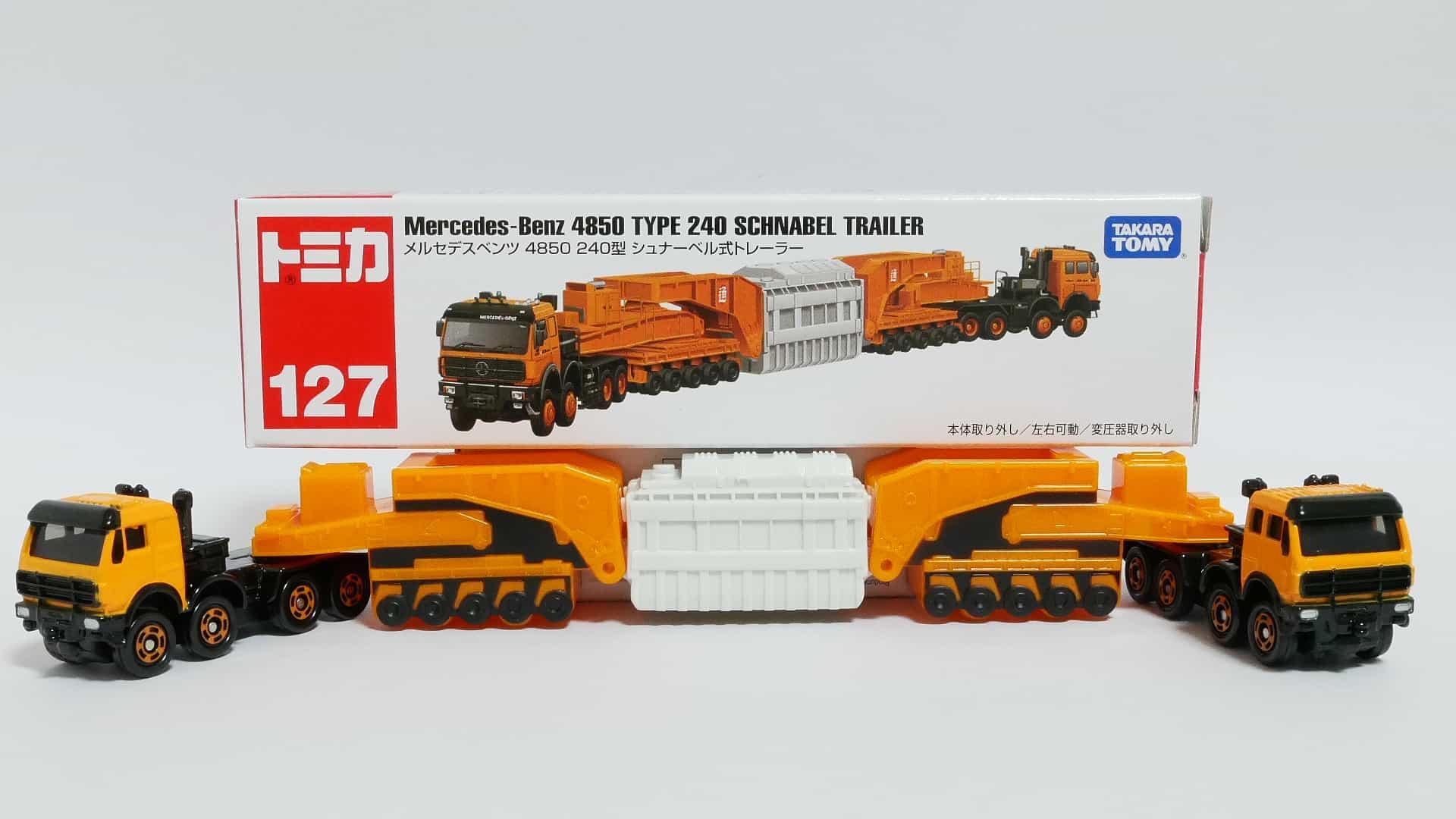 ロングタイプトミカNo.127-4メルセデスベンツ4850_240型シュナーベル式トレーラー-箱