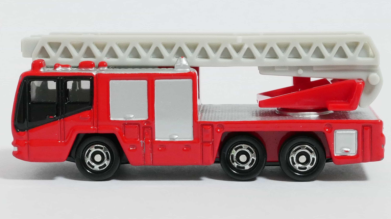 トミカNo.108-4日野ハシゴ付消防車(モリタ・スーパージャイロラダー)-横